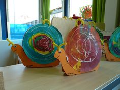 Snail craft for kids with crayon and then watercolor resist on a paper plate shell. Kindergarten Art, Preschool Art, Autumn Crafts, Spring Crafts, Classe D'art, Snail Craft, Crafts For Kids, Arts And Crafts, School Art Projects