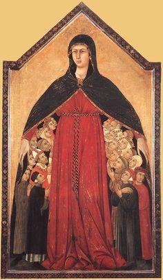 Simone Martini e Lippo Memmi - Madonna della Misericordia - 1308-1310 - Pinacoteca Nazionale, Siena
