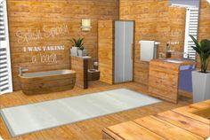 Sims 4 CC's - The Best: Ligneous Wood Bathroom + Wallpaper & Floors by xMi...