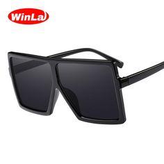 Winla Fashion Design Sunglasses Women Oversized Square Frame Sun glasses Female Stylish Mirror Gradient Oculos de sol WL1103