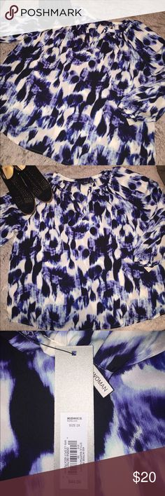 NWT Navy & White Silk Blouse Silk navy and white abstract patterned blouse. Light weight and comfortable. Perfect for Summer. New with tags. Apt. 9 Tops Blouses