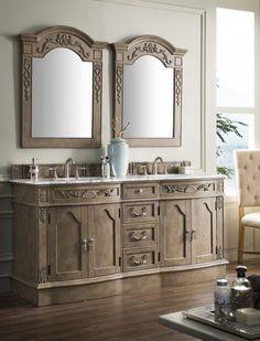 72 Inch Antique Double Bathroom Vanity Empire Gray Finish Carrara Marble Top