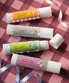 Give your guests some personal attention with these Personalized Expressions Collection lip balm favors. Available from Lady Slipper Stationery $1.99