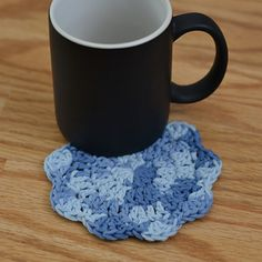 Need a quick gift? You can whip up a pair of these coasters in about 30 minutes, and with less than 1 oz of yarn. These coasters are pretty, but not too fancy… and could also be used as face scrubbies!