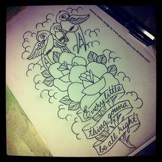 Guen Douglas , tattoo birds flowers
