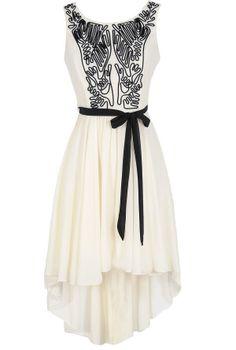 Boho Scribble Dress in White and Black