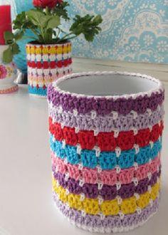 Красивые кашпо для цветов крючком со схемами   Уют и тепло моего дома