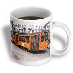 3dRose Train tram in Milano Duomo Square Milan Italy, Ceramic Mug, 11-ounce