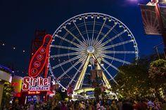 a big ferris wheel on Clifton Hill at Niagara Falls, Ontario Carnival Lights, Clifton Hill, Ferris Wheel, Fair Grounds, Fun, Carousels, Niagara Falls, Ontario, Hilarious