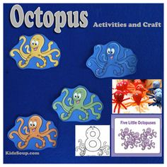 Five Little Octopuses Activities and Craft Animal Activities, Alphabet Activities, Motor Activities, Science Activities, Activities For Kids, Outdoor Activities, Ocean Animal Crafts, Octopus Crafts, Crafts For Seniors