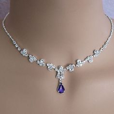 PURPLE DIMPLES RHINESTONEJEWELRY NECKLACE AND EARRINGS SET - SOLD OUT