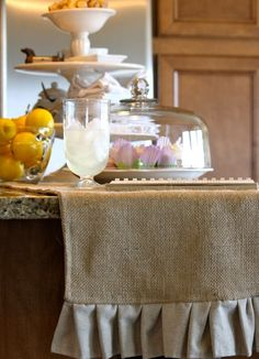 Ruffled Burlap Table Runner @sweetteaandlinen