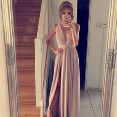 2017 Custom made Simple A-line prom dress,champagne chiffon long prom dress,formal dresses