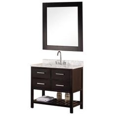Mission 36 in. Vanity in Espresso with Marble Vanity Top in Carrera White and Mirror-DEC077A at The Home Depot $1098