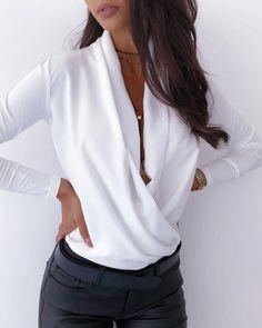 Sexy Deep V-Neck Blouse Print Elegant Office Ladies Pullover Shirt Casual Women Autumn Winter Long Sleeve Tops Blusas Streetwear 2020 V Neck Blouse, Long Blouse, Long Sleeve Tops, Long Sleeve Shirts, Blouse Styles, Cowl Neck, Sleeve Styles, Blouses For Women, Shirt Style