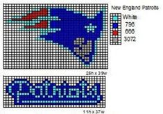 These are the NFL logo and name plate patterns that I use to make scarfs and beenie hats. Here is a pattern for th. Bead Loom Patterns, Beading Patterns, Cross Stitch Patterns, Crochet Patterns, Plastic Canvas Ornaments, Plastic Canvas Patterns, Cross Stitching, Cross Stitch Embroidery, New England Patriots Logo
