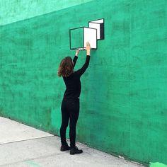 Perspective tape art by Aakash Nihalani - update from Brooklyn - Perspective tape art by Aakash Nihalani - Street Installation, Interactive Installation, Tape Art, Illusion Kunst, 3d Optical Illusions, Optical Illusion Art, Urbane Kunst, Space Painting, Mural Art