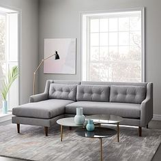 Crosby Set Sofa, Left Chaise, Retro Weave, Feather Gray At West Elm - Sectional Sofas - Couches - Living Room Furniture West Elm Sectional, Mid Century Sectional, Sectional Sofas, Modern Sectional, Chaise Sofa, Sleeper Sofa, Sofa Furniture, Living Room Furniture, Outdoor Furniture