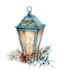 Watercolor blue Christmas lantern with decor. Hand painted lamp, candle, eucalyptus leaves and branch, silver bells, fir vector illustration Painted Christmas Cards, Watercolor Christmas Cards, Christmas Drawing, Christmas Art, Illustration Noel, Christmas Illustration, Watercolor Illustration, Watercolor Images, Watercolor Cards
