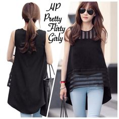 Black Sheer Blouse Ladies organza chiffon blouse short hollow out. High low black sheer blouse. New! Boutique Tops Blouses