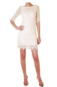 Ella Lace Sheath - Stretch Overlay Shift Dress - Humblechic.com