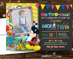 mickey mouse birthday party ideas Oh Two-dles Mickey Mouse Birthday Invitation - Boy Second Birthday Party - Mickey Mouse Club House Invitation Second Birthday Boys, Boys 1st Birthday Party Ideas, Birthday Boy Shirts, Mickey Birthday, Mickey Party, 1st Boy Birthday, Mickey Invitations, Mickey Mouse Birthday Invitations, Mickey 1st Birthdays