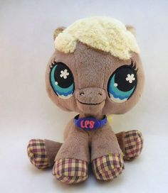 Littlest Pet Shop plush Horse, 2007 LPS pony, toy stuffed animal #Hasbro