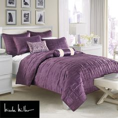 @Overstock - This elegant coverlet by Nicole Miller will add a designer feel to any bedroom. This coverlet features sleek stitched squares atop rich blackberry purple matte satin.http://www.overstock.com/Bedding-Bath/Nicole-Miller-City-Square-Blackberry-Full-Queen-size-Coverlet/6428141/product.html?CID=214117 $77.74