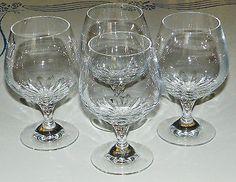 "Beautiful Set Lot 4 Crystal Wine Stemware Glasses Zajecar Yugoslavic 51 4"" Tall | eBay"