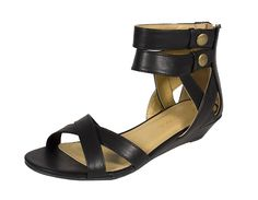 IMPALA! Women's Open Toe Ankle-Straps Low Heel Sandal Black Leatherette >>> You can find more details by visiting the image link.
