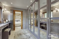 Stunning master wetroom with walk-through dressing room —Chuck Hatch, East Sus. - Stunning master wetroom with walk-through dressing room —Chuck Hatch, East Sussex Dressing Room Design, Bedroom Design, Bathroom Interior, Closet Decor, Master Bedrooms Decor, Home Decor, Dressing Room Decor, Room Design, Bathroom Design