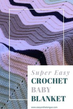 Super easy crochet baby blanket - one stitch chevron pattern, multi-coloured  - get inspiration and pattern from www.easyonthetongue.com