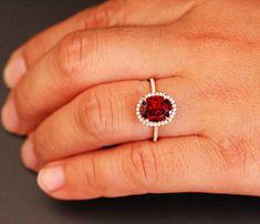 Crimson Red Garnet Engagement Ring January by Twoperidotbirds