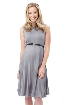 Vida Knife Pleat Maternity Dress in Silver. Please use coupon code NewProducts to receive 15% off these items. To receive the discount, please place your order by midnight Monday, May 4, 2015