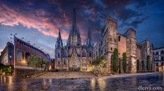 Panoramica de la Catedral de Barcelona al amanecer. dleiva.com/
