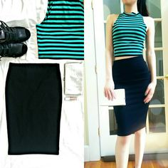Forever21 Ribbed Bodycon Pencil Skirt In great condition! Only worn once! 96% Polyester, 4% Spandex. Color: Black and verticle ribbed texture. Super stretchy and comfortable! High waisted as shown in the picture! Great paired with a crop top! 24in from waistline to hem. Fits true to size and can even fit size XS. Please don't hesitate to ask questions and feel free to make an offer! Ask to bundle for a discount! Forever 21 Skirts Pencil
