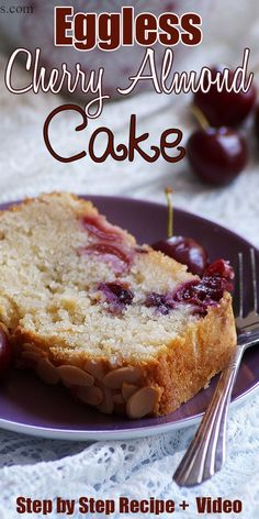 Eggless Cherry Almond Cake Recipe with Step by Step photos and video. A simple moist and super delicious cake made with fresh cherries and almond meal. No eggs needed! Eggless Desserts, Eggless Recipes, Eggless Baking, Cherry Desserts, Almond Recipes, Baking Recipes, Delicious Desserts, Baking Recipe No Eggs, Vegan Baking