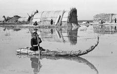 Suaid boy paddling a raft, Eastern Marshes, Iraq, 1958