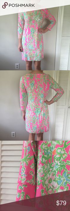 Lilly Pulitzer Southern Charm Sophie Dress Large Softest dress in one of the best prints, Southern Charm! 93% Rayon, 7% spandex. Size Large. Worn twice, in excellent condition. Note there is a little pen mark on back of sleeve (pictured). Lilly Pulitzer Dresses