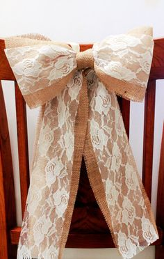Burlap and Lace Rustic Pew Bow set of 5, Burlap and Lace Wedding Decor, Shabby Chic Chair Decor, Rustic Weddings. $40.00, via Etsy.