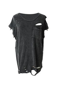 Biker T-shirt, black, distressed, ripped - $78.00