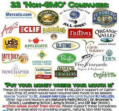 List of 22 non GMO companies plus a list of non GMO gluten free brands