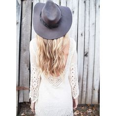 Click the photo to shop the look | Haley of The Vogue Trip wearing a cream long-sleeve dress, and a black floppy hat |  Follow @liketoknowit on Pinterest for more outfit inspiration #liketkit