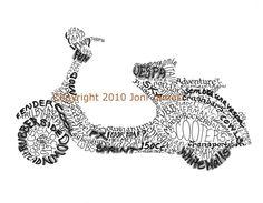 Retro Italian Vespa Scooter Art Typography by CalligramORama, $19.50