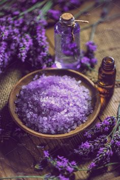 Spa massage setting by Grafvision photography on Creative Market Spa massage setting, lavender product, oil and salt – Affiliate ad link. Lavender Cottage, Lavender Fields, Lavender Flowers, Lavender Scent, Lavender Color, Purple Love, All Things Purple, Shades Of Purple, Periwinkle