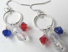 Beaded Earrings  4th of July  Red White and by BitsOffTheBeach, $10.00