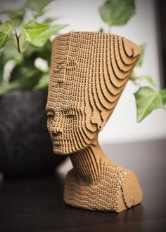 Nefertiti - cardboard sculpure for self assembly Puzzle DIY Kit Paper recycled sculpture decor gift - maquette Nefertiti – cardboard sculpure for self assembly Puzzle DIY Kit Paper recycled sculpture decor g - Cardboard Model, Cardboard Design, Cardboard Sculpture, Cardboard Paper, Cardboard Furniture, Cardboard Crafts, Sculpture Art, Paper Crafts, Cardboard Playhouse