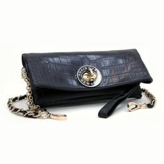 c10c03ebd4c1 Anais Gvani Bags Dasein Elegant Croco Evening Clutch w  Interchangeable  Straps -Black
