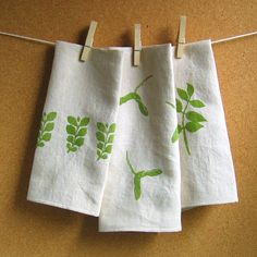 block or screen print fabric napkins - from Once U[on a Tea Time blog