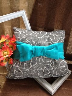 Black and Blue Felt Bow Decorative Accent Pillow Black and White Pattern on Etsy, $12.00